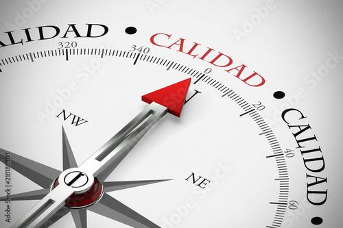 Cuadros en Lienzo Kompass zeigt in Richtung Calidad / Qualität