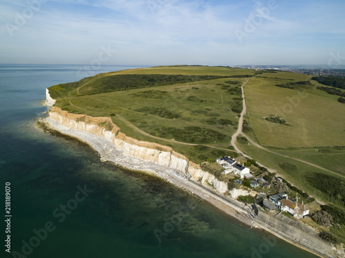 Photo  Drone image of Cuckmere Haven with coastguard cottages