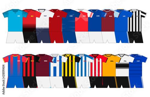 Fotografie, Obraz  English Football kits set. 2018-2019