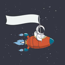 Astronaut In Flying Rocket Holds A Flag . Vector Illustration