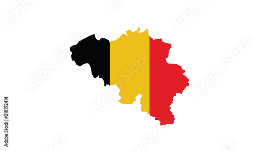 Fotografie, Obraz Belgium map outline national borders country state Europe