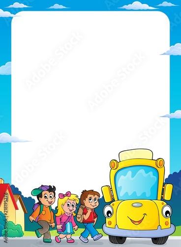 Poster Voor kinderen Children by school bus theme frame 2