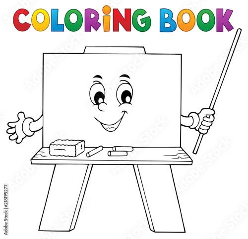 Poster Voor kinderen Coloring book happy schoolboard theme 1