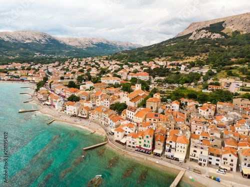 Poster Cote Aerial panoramic view of Baska town, popular touristic destination on island Krk, Croatia, Europe.