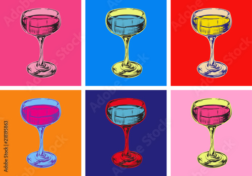Foto auf Leinwand Pop Art Champagne Glass Hand Drawing Vector Illustration. Alcoholic Drink. Pop art style.