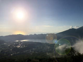 The Batur lake and volcano are in the central mountains in Bali near the Kintamani village, Indonesia.