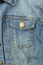 Clothes, Shoes And Accessories - Top View Fragment Blue Jeans Jacket