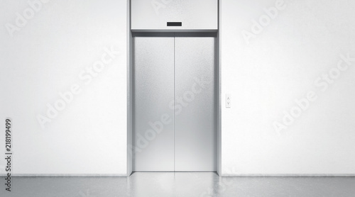 Blank silver closed elevator in office floor interior mock up, front view, 3d rendering Canvas Print