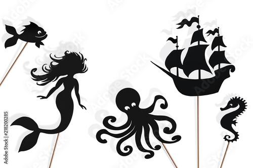Mermaid storytelling, shadow puppets