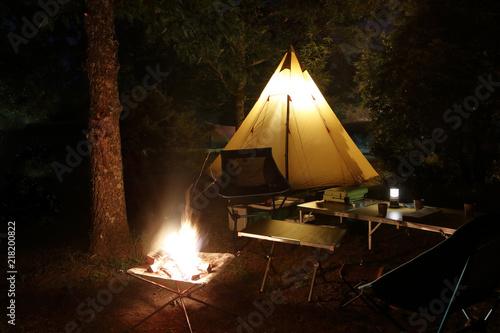 Slika na platnu 焚き火とテント