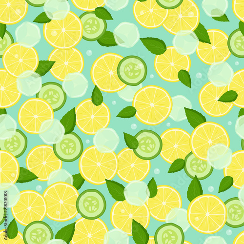 Fotografia  Endless Texture with Pieces Lemon, Slices Cucumber