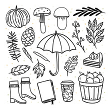 Autumn Objects And Elements Hand Drawn Illustrations Set. Cute Fall Doodle Graphics, Umbrella, Pumpkin, Autumn Leaves