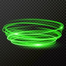 Green Neon Light Twirl Circle ...