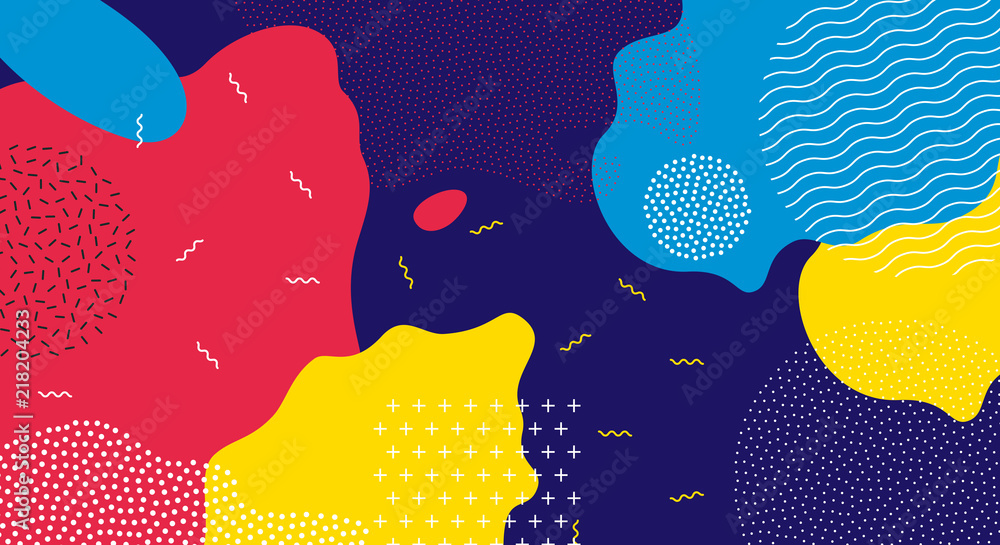 Fototapety, obrazy: Abstract pop art line and dots color pattern background. Vector liquid splash overlay geometric design with trendy Memphis style