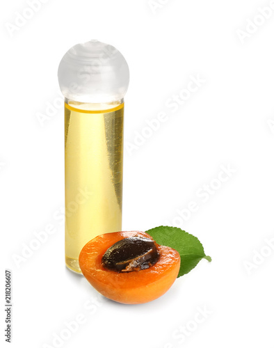 Bottle with apricot essential oil on white background Wallpaper Mural