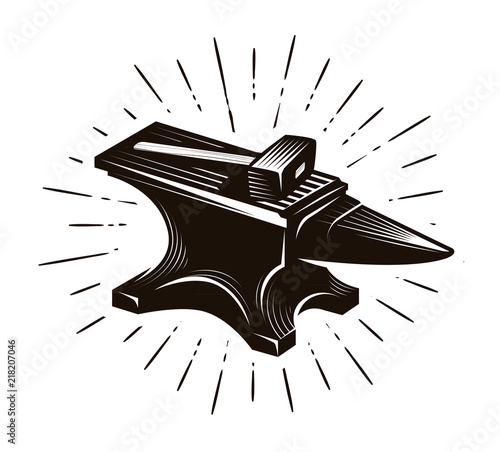 Photo Blacksmith, forge. Anvil and hammer, vector illustration