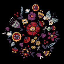 Embroidery Ethnic Pattern With Simplified Flowers And Butterfly. Vector Embroidered Floral Patch For Print And Fabric Design.