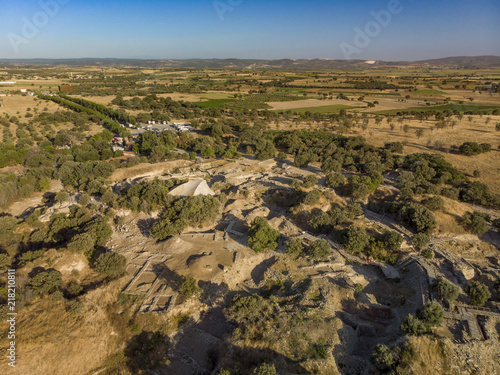 Fototapeta Aerial shot from Archaeological Site of Troy Canakkale Turkey
