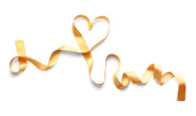 Curled Golden Ribbon On White Background