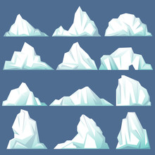 Set Of Isolated Iceberg Or Drifting Arctic Glacier