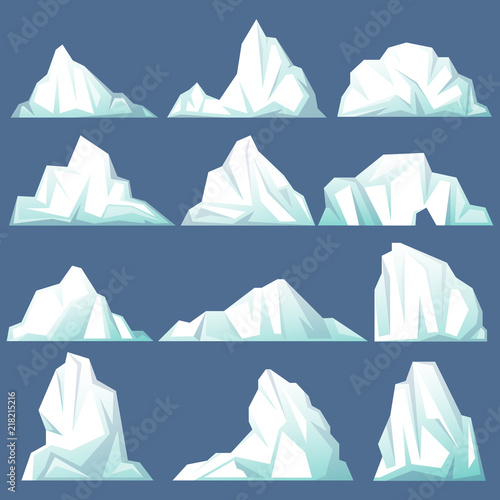 Slika na platnu Set of isolated iceberg or drifting arctic glacier