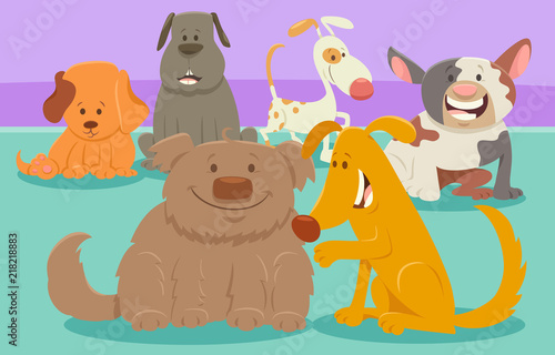 dogs or puppies cartoon characters group #218218883