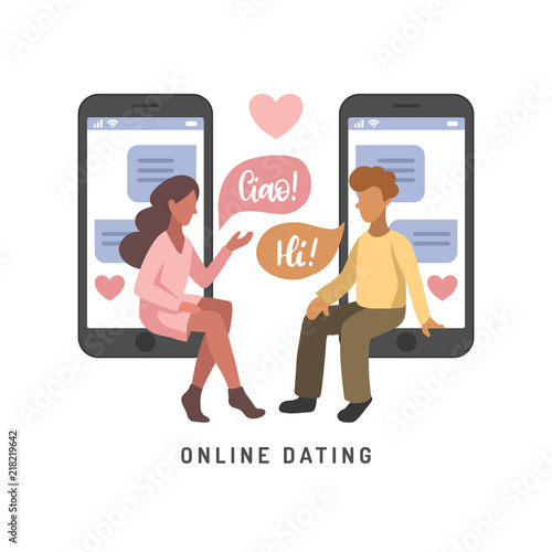 Vector illustration for online dating app users  Flat