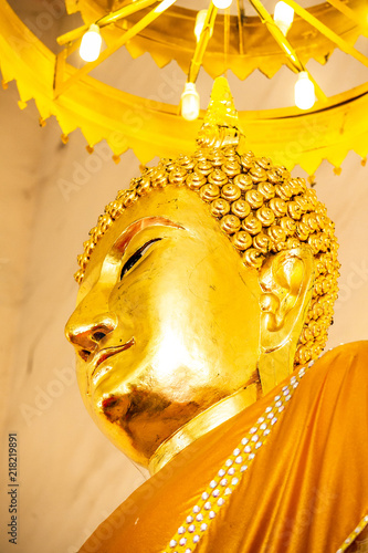 Tuinposter Boeddha Close up face of Buddha in temple thailand.