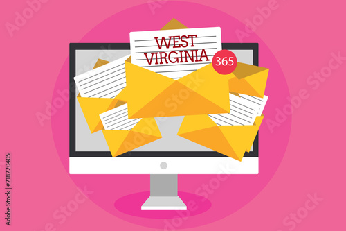 In de dag Candy roze Text sign showing West Virginia. Conceptual photo United States of America State Travel Tourism Trip Historical Computer receiving emails important messages envelopes with papers virtual.