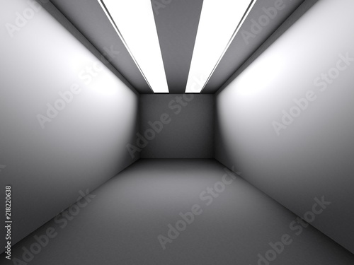 Valokuva  White room with straight long lights - 3D rendering
