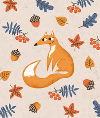 Autumn fox children poster