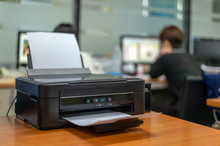 Black Printer In Office With S...