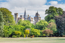 View On Cardiff Castle From  Bute Park In The Centre Of Cardiff, Wales, UK