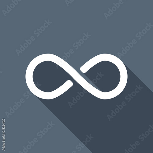 Infinity Symbol Simple Icon White Flat Icon With Long Shadow O