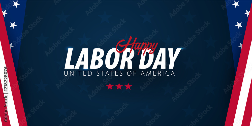 Fototapeta Labor Day sale promotion, advertising, poster, banner, template with American flag. American labor day wallpaper. Voucher discount