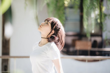 Portrait Of Asian Girl With Wh...