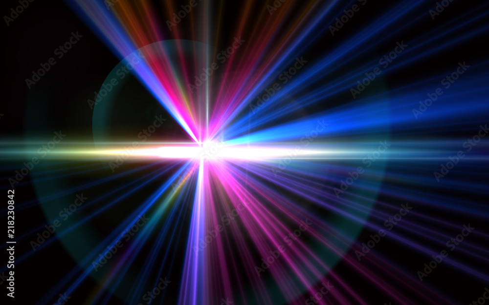 Fototapety, obrazy: light flare special effect.Spike spectrum ball flare.Beautiful lens flare