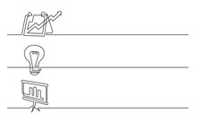 Banner Design - Continuous Line Drawing Of Business Icons: Presentation, Light Bulb Symbol, Chart Screen