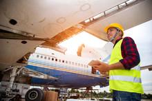 Happy Mechanic Having Job In Airdrome Aircraft Engineer.