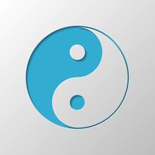 Yin Yan Symbol. Paper Design. Cutted Symbol With Shadow