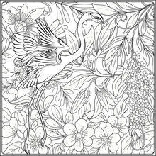 Flamingo In Fantasy Flower Garden. Outline Hand Drawing. Good For Coloring Page For The Adult Coloring Book. Stock Vector Illustration.
