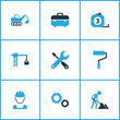 Industry icons colored set with tools, excavator, builder and other case elements. Isolated vector illustration industry icons.