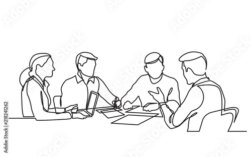 Valokuva continuous line drawing of office workers at business meeting