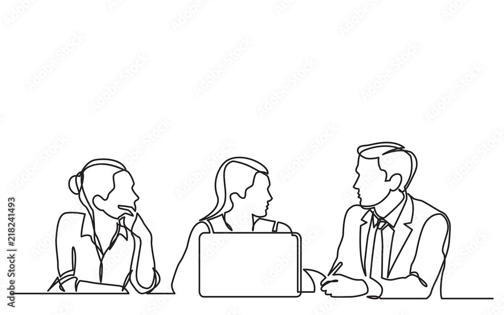 Fototapeta continuous line drawing of three employees talking about work