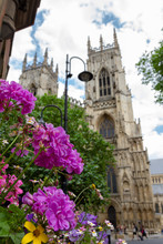 Beautiful Flowers And Lamp Post In The Foreground With York Minster Cathedral In The Background On A Summer Day In Yorkshire, England UK.