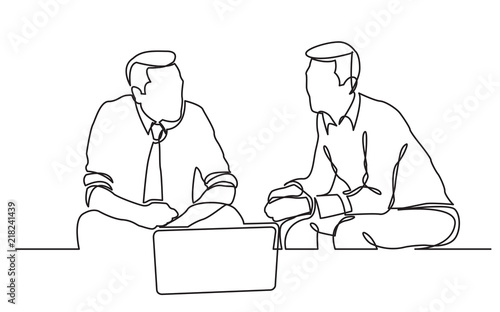 Stampa su Tela continuous line drawing of two businessmen sitting and talking