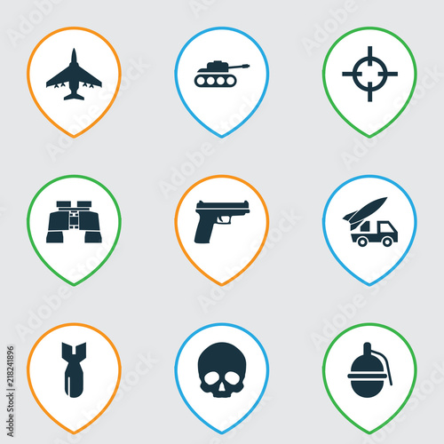 Warfare icons set with artillery, bomb, sniper and other weapons