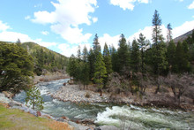 A River With Rapids In California.