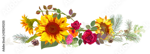 Fototapeta Horizontal autumn's border: sunflowers, pink, red roses, daisy flowers, pine branches, cones on white background