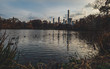 central park lake with new york skyline behind during late fall cloudy day